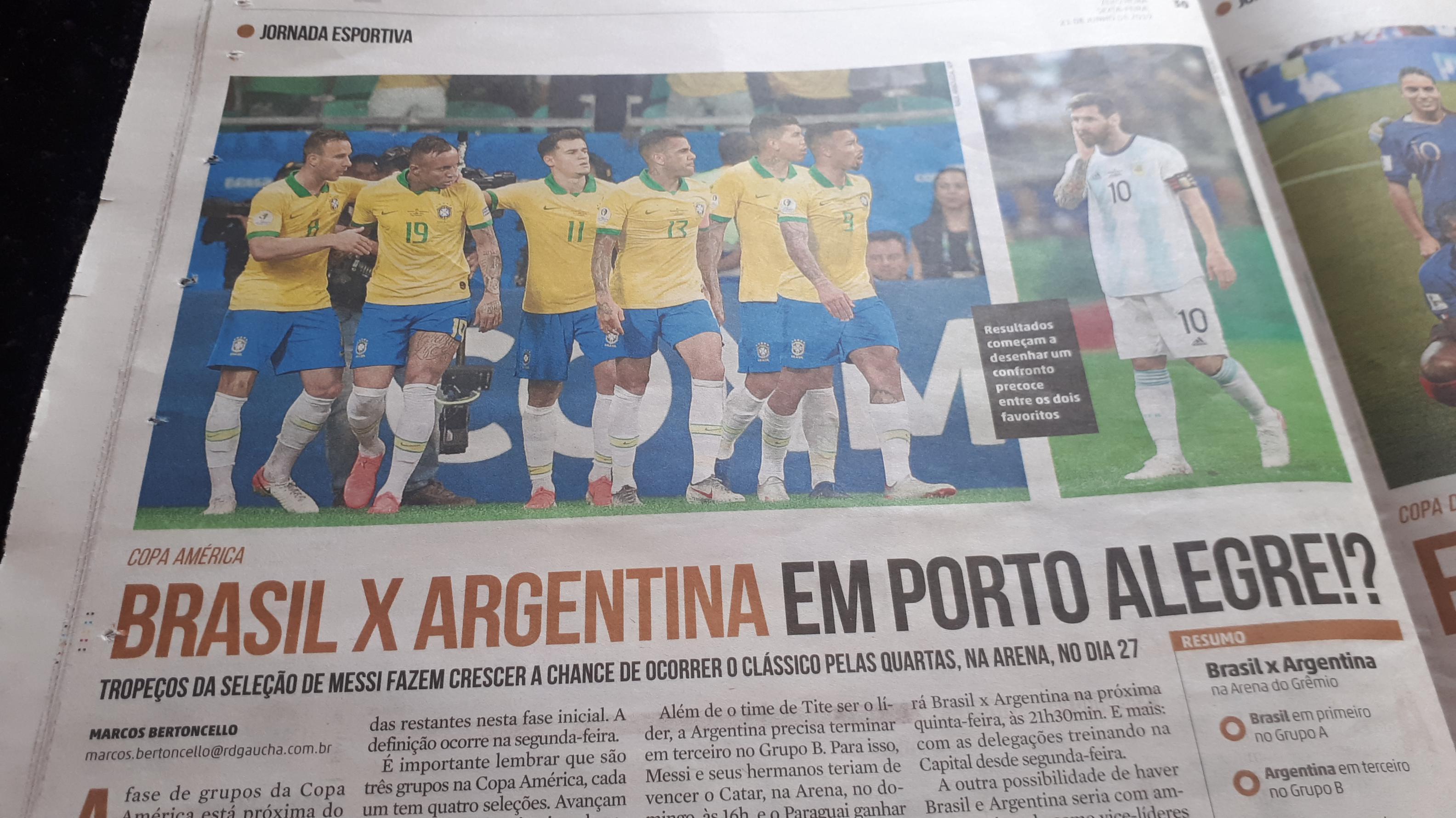 Proyecciones: ¿Brasil- Argentina en Porto Alegre?