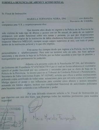 Denuncia de Neira contra Meglio fuente EL DOCE