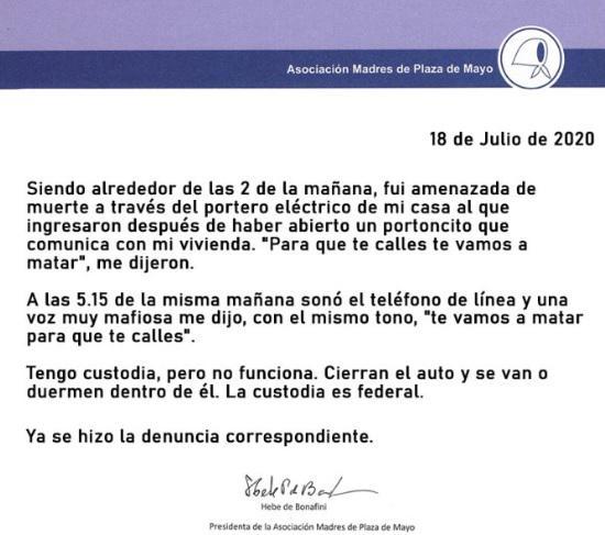 Comunicado Madres amenazas a Hebe 18 07 2020