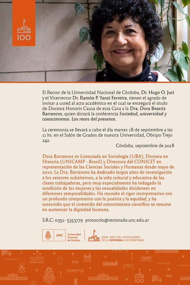 Dora Barrancos Honoris Causa