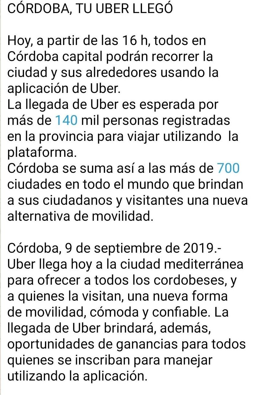 Uber comunicado