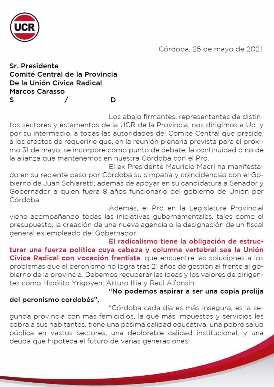 Pedido del radicalismo para discutir alianza con el PRO 25 05 2021