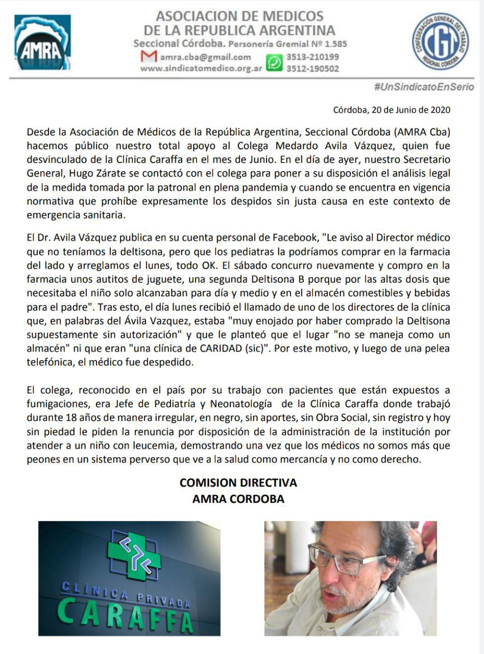 Comunicado Asociación de Médicos de la República Argentina