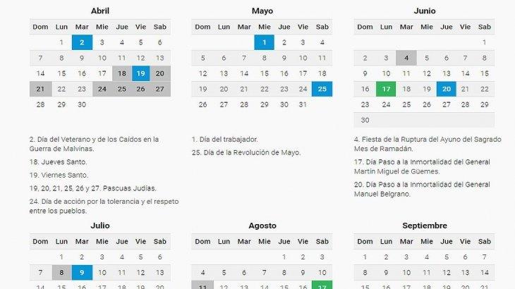 Julio Calendario 2019.El Gobierno Confirmo El Calendario 2019 Habra 19 Feriados Y Tres