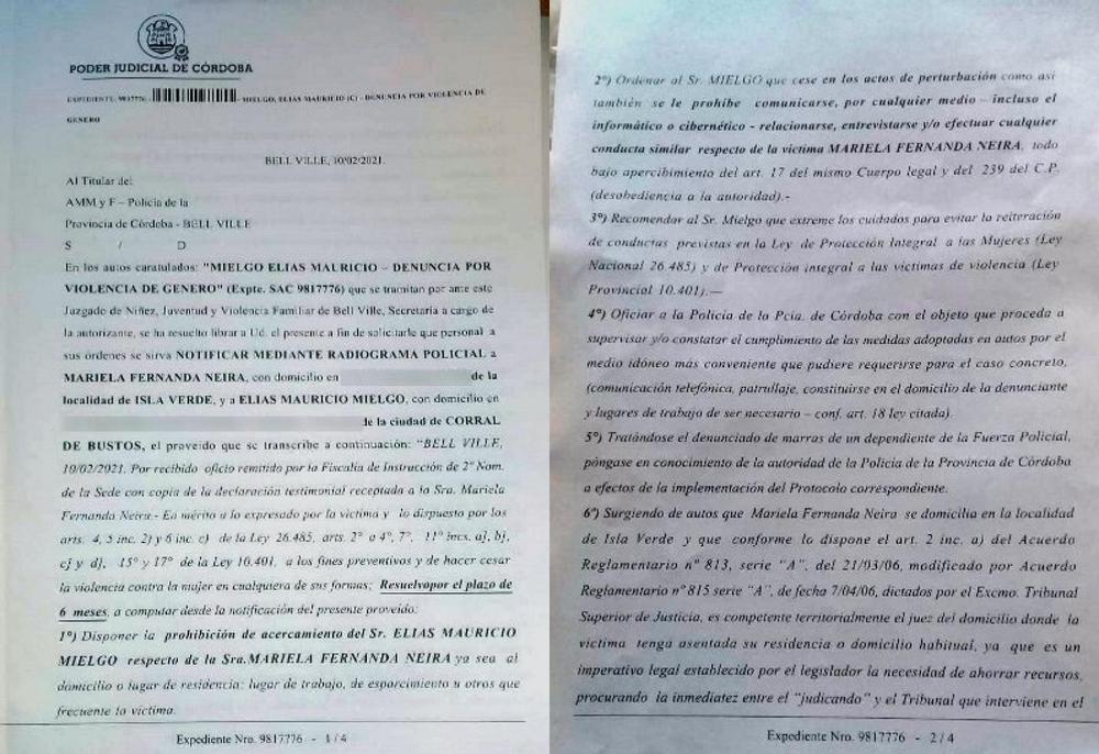 Denuncia de Neira contra Meglio fuente EL DOCE restriccion