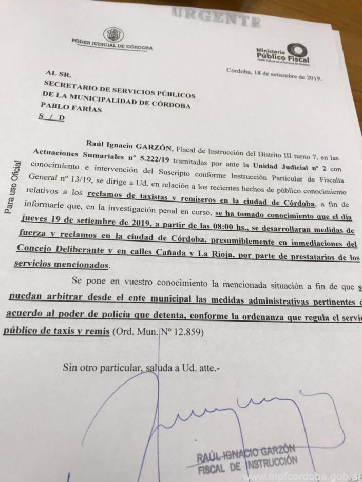 Pedido judicial protesta taxis MPF