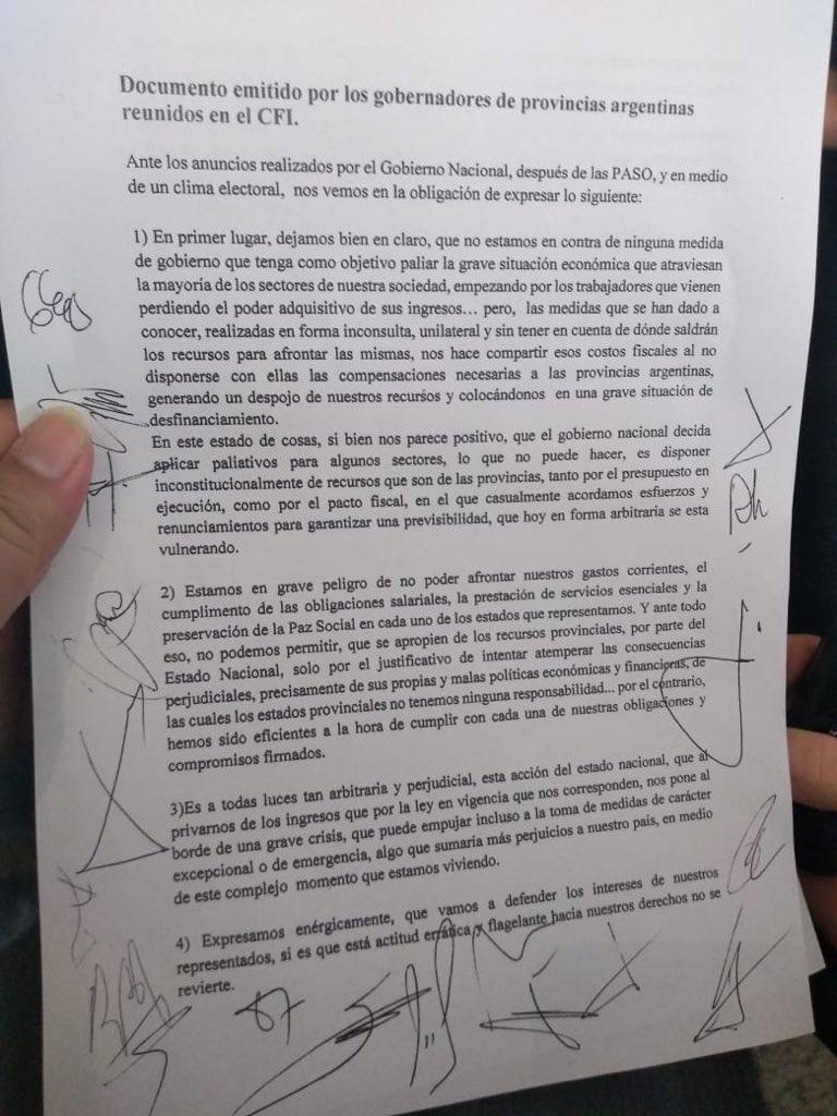 Documento de gobernadores contra las medidas de Mac