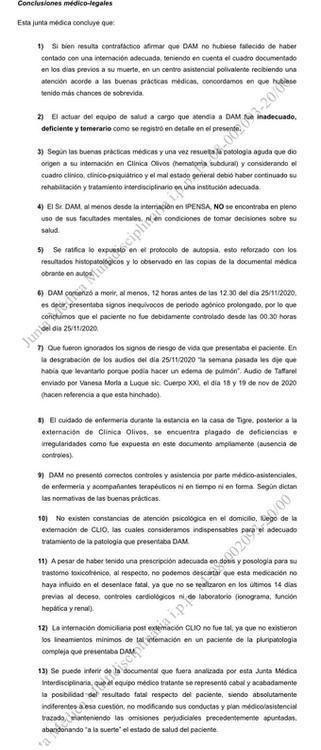 Conclusiones Junta Médica Causa Maradona 30 de abril del 2021 captura